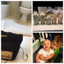Photo collage of breast pump, bottles of breastmilk, and toddler holding baby