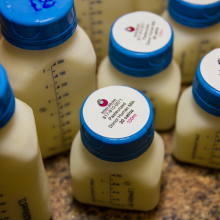 Bottles of pasteurized donor human milk