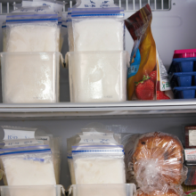 Freezer containing food, as well as bags of pumped breastmilk