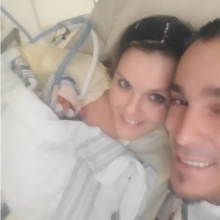 Mother and father at hospital with premature son