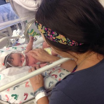 Mother with baby in NICU