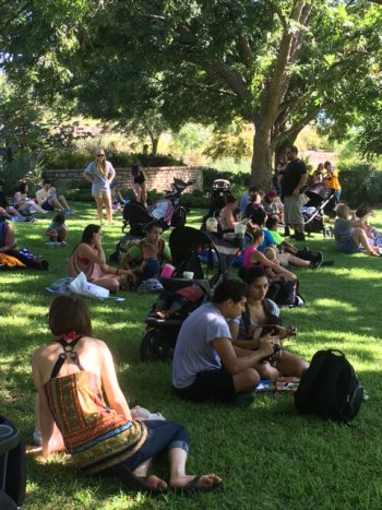 Families gather on the Botanic Garden lawn to participate in the Big Latch On.