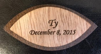 Wooden ornament memorializing Ty's stillbirth