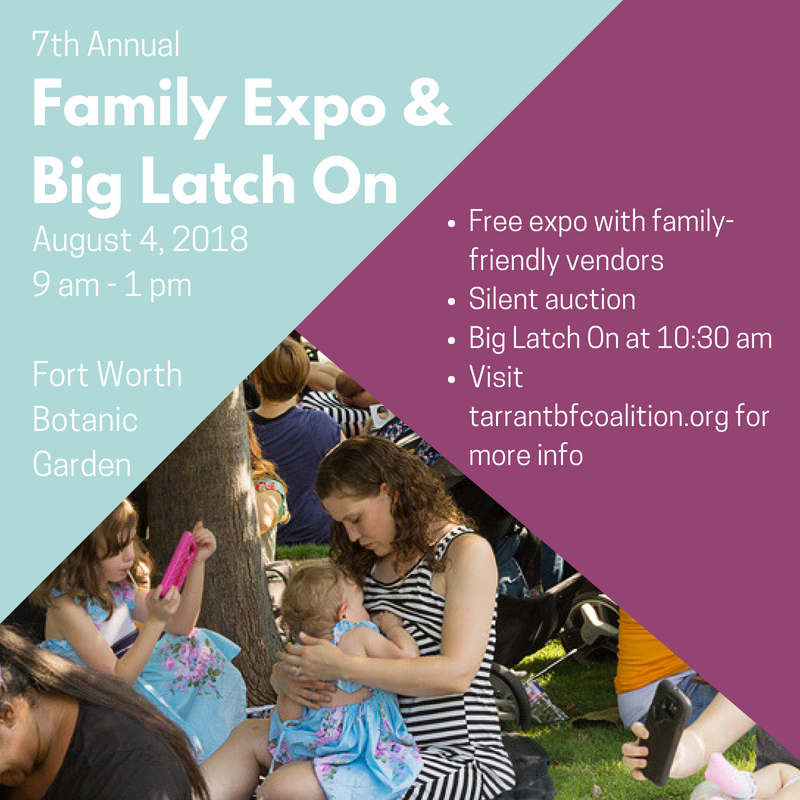 Graphic listing details of Family Expo and Big Latch On