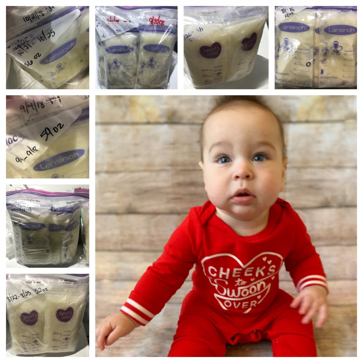 Photo collage of baby and bags of frozen breastmilk