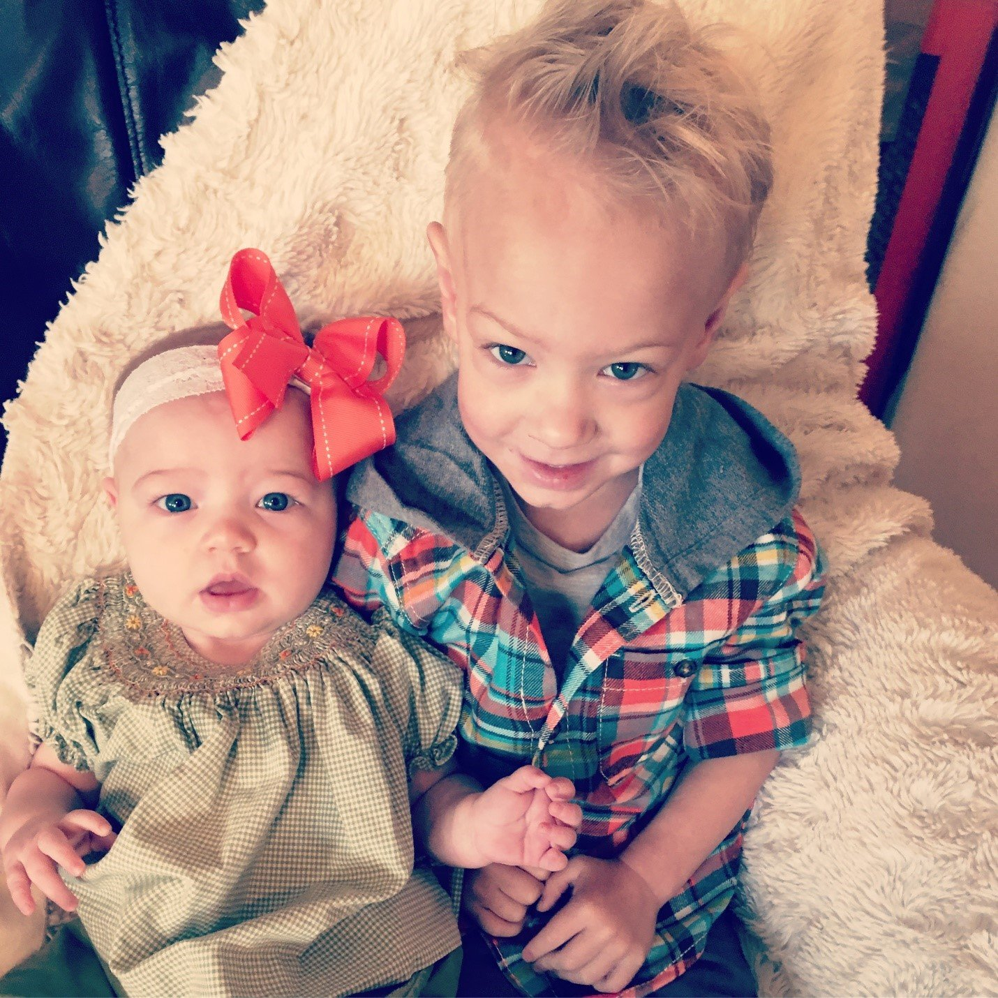Toddler brother and baby sister
