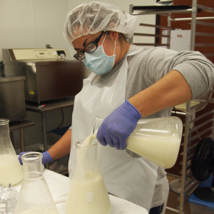 Lab technician pouring donor breastmilk into a flask