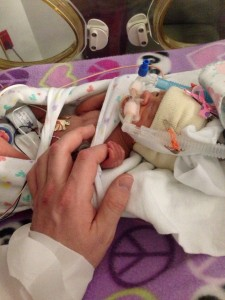 Harper holding her daddy's finger while in the NICU